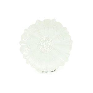 Prato de Cerâmica em Flor Branco