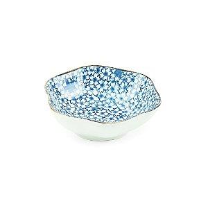 Mini Bowl de Cerâmica Sextavado Florzinhas Azul