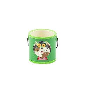 Cachepô com Alça de Porcelana Gata Florida Verde Pequeno
