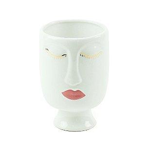 Cachepô em Porcelana Face Branco