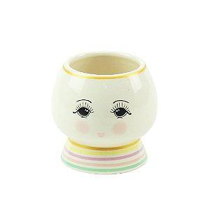 Cachepô Boneca de Porcelana Oval com Listras Coloridas
