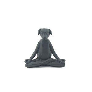 Escultura Cachorro Preto Yoga Posição de Lótus
