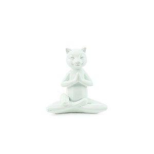 Escultura Gato Branco Yoga Meditação