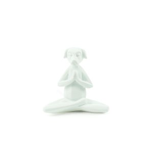 Escultura Cachorro Branco Yoga Meditação