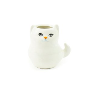 Cachepô de Porcelana Gato Branco