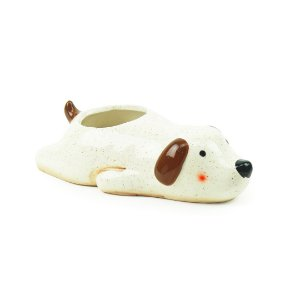 Cachepô de Porcelana Cachorro Marrom Deitado