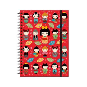 Caderno Universitário Kokeshi Vermelha 100 folhas