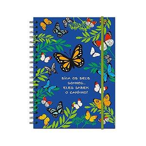 Caderno Universitário Borboletas no Jardim 100 folhas