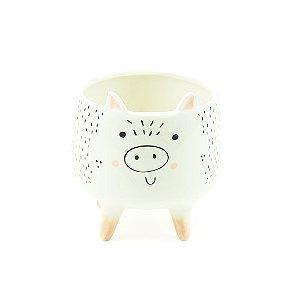 Cachepô de Porcelana com Pés Porco Médio