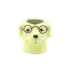 Cachepô em Porcelana Cachorro com Óculos Amarelo