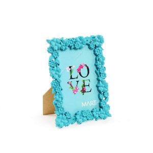 Porta Retrato Floral Azul 10x15