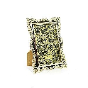 Porta Retrato Ornamentado Dourado 10x15