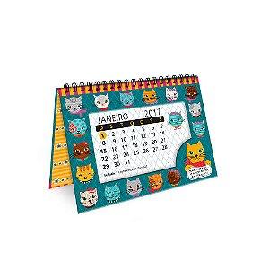 Calendário de Mesa Decorado Gatinhos Divertidos 2017