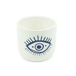 Cachepô em Porcelana Olho Grego Azul