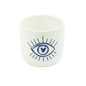 Cachepô em Porcelana Olho Coração Azul