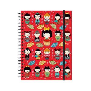 Caderno Universitário Kokeshi Vermelha 200 folhas