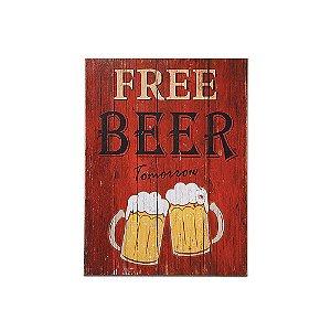 Placa Decorativa de Madeira Free Beer 30x40