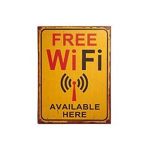 Placa Decorativa de Madeira Free Wi-Fi 30x40