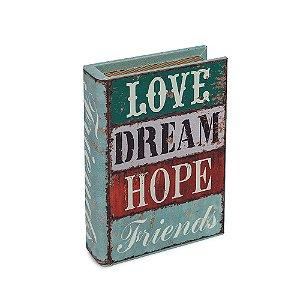Livro Caixa Pequeno Decorativo Love Dream Hope Friends
