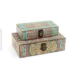 Conjunto 2 Caixas com Fecho Floral Indiana