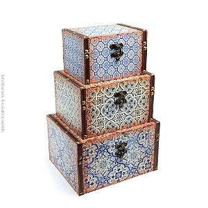 Conjunto 3 Baús com Fecho Azulejos