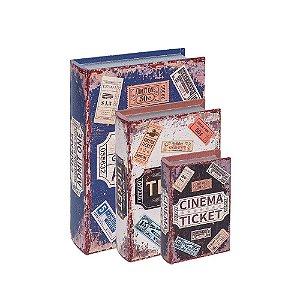 Conjunto 3 Livros Caixa Decorativos Cinema Tickets