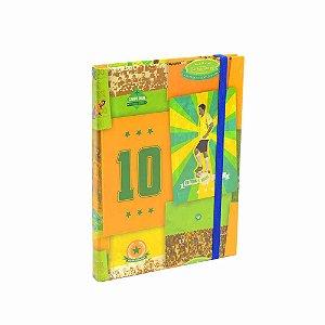 Caderno Médio Capa Dura com Elástico Brasil do Futebol