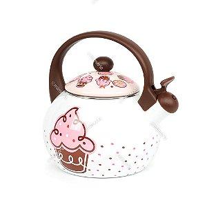 Chaleira Cupcake Rosa em Aço