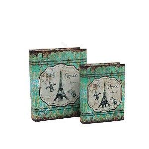 Conjunto 2 Livros Caixa Decorativos Paris França