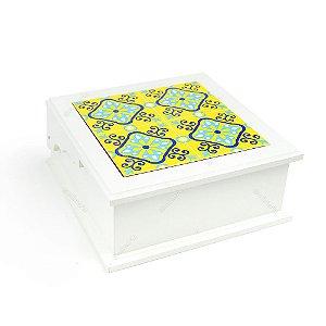 Caixa de Chá MDF Ladrilho Amarelo