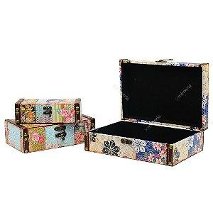 Conjunto 3 Caixas com Fecho Kokeshi