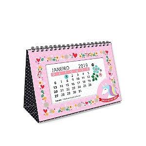 Calendário de Mesa Decorado Unicórnio 2019