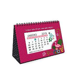 Calendário de Mesa Decorado Flamingo 2019