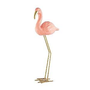 Flamingo em Cerâmica Rosa em Pé Pequeno