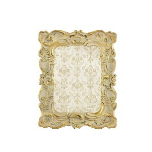 Porta Retrato de Resina Clássico Ornamentado Dourado 13x18