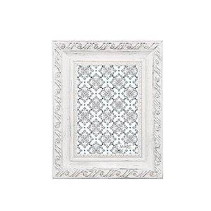 Porta Retrato Neoclássico Branco e Prata 13x18