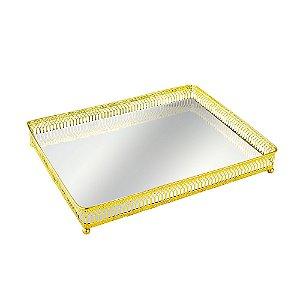 Bandeja em Metal Retangular com Espelho Dourada Grande