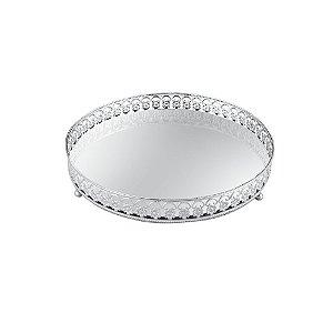 Bandeja em Metal Redonda com Espelho Prata Florada Pequena