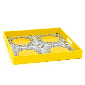 Bandeja 4 Azulejos Arábia Moldura Amarela