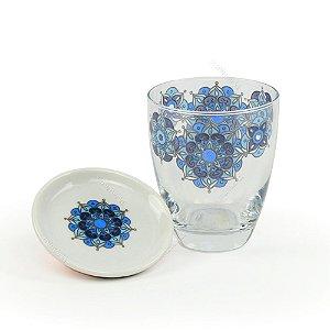 Copo de Vidro Nepal Azul 250 ml com Tampa