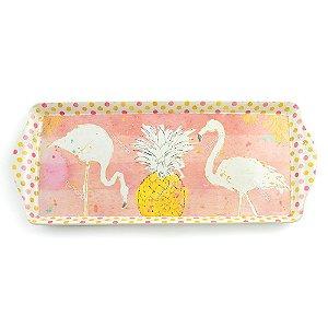 Bandeja Retangular Flamingos Brancos Média