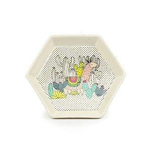 Prato em Cerâmica Hexagonal Lhama Pequeno