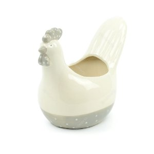 Pote de Cerâmica Galinha Branco e Cinza Cute