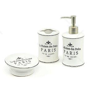 Kit de Banheiro Barber Paris Branco