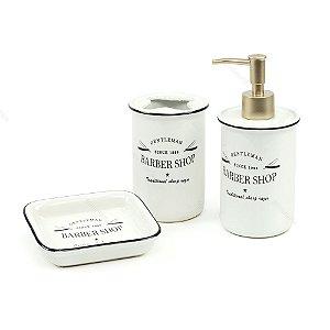 Kit de Banheiro Barber Shop Branco