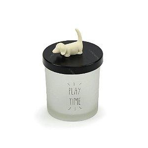 Pote de Vidro Cachorro Branco Pequeno