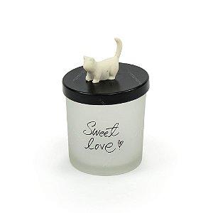 Pote de Vidro Gato Branco Pequeno