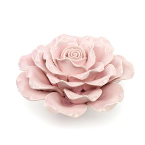 Flor Decorativa em Cerâmica Flor Rosa Grande