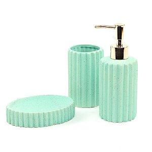 Kit de Banheiro em Cerâmica Menta Zigue Zague