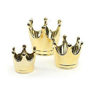 Kit 3 Potes em Cerâmica Coroa Dourada